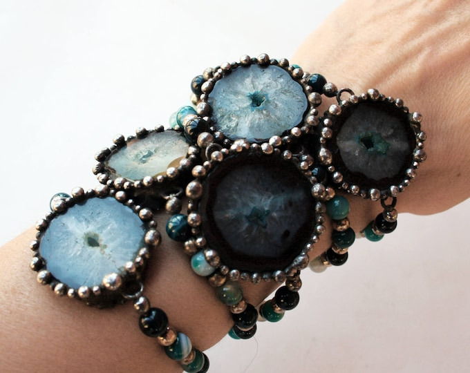 Blue Agate Slice Beaded Bracelet