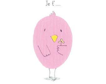 Card Valentine post card, humor, bird, love, love, flowers