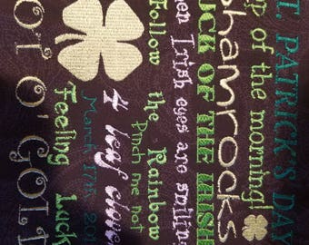 St Patrick Day, St Pattys Day, luck of the Irish Embroidery Design all major formats, 7.89x7.24 5-6 colors with 13 fonts used
