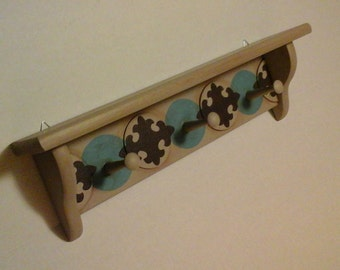 3 Peg Wood Shelf, Hanging Wall Shelf with Large Pegs, Chalk Painted Gray Shelf with Pegs, Masculine or Boy's Room Shelf