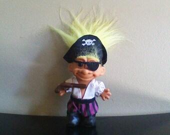 "Vintage Russ Troll Doll Pirate Yellow Hair Trolls 5"""