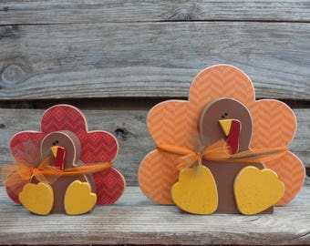 Thanksgiving Decor- Fall Decor- Turkey Decor- Autumn Decor-Sitting Turkeys
