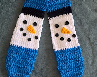 Crochet Snowman Scarf Baby Boy Christmas Winter Gift Pompoms