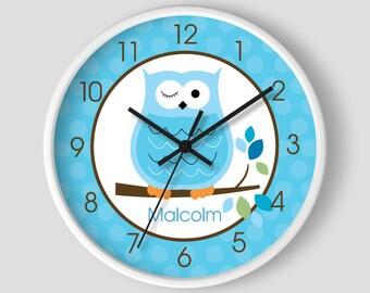 Blue Winking Hoot Owl Wall Clock / Owl Nursery Clock Boys Room