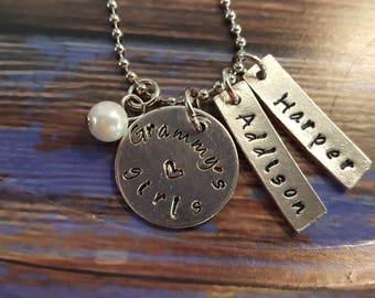 Handstamped made-to-order Grandmother's necklace