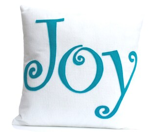 Joy Pillow Cover Appliquéd in White and Peacock Eco-felt 18 inches