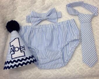 Boys Cake Smash Outfit - Blue Seersucker Stripe - Diaper Cover, Tie & Birthday Hat - Birthday Set - Boys Birthday Outfit  First 1st Birthday