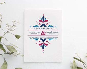 Printed Save the Date Cards -  printed set -  Mexican wedding -  bright and bold -  semi-custom
