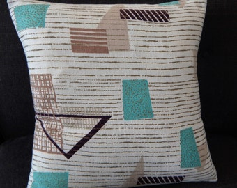 "Mid Century Modern Barkcloth Pillow Cover Atomic 1950's ""Turquoise SQ-2""  Mad Men"
