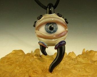 Glass Horny Eye Pendant Human Eyeball Focal Bead Lampwork Borosilicate Totem Kenny Talamas VGW