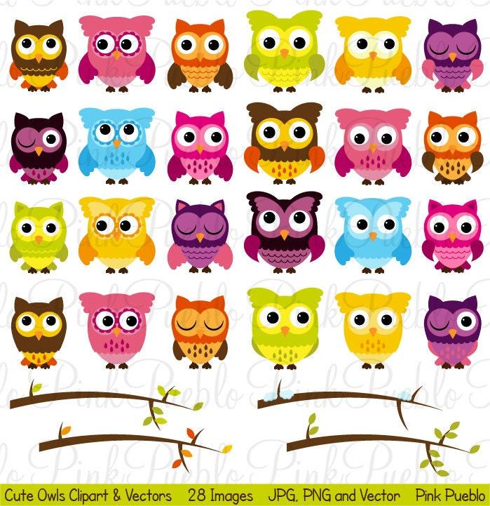 Cute Owl Clipart Clip Art Owl and Seasonal Branches Clipart