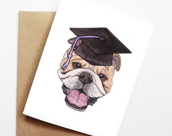 Graduation Card - Bull Dog, Grad Card, College Graduation, High School Grad, Congrats Grad, Congrats Card, Cute Dog Card