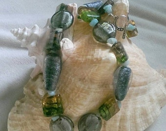 SALE Pink and Green Lampwork Necklace