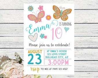 Butterfly Birthday Invitation ****digital file ***  Background- DIY Print (Bttrfly-12WHT)