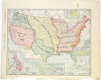 Original 1900 Color Atlas Map of The United States by Rand McNally & Co. Color Map Showing Principal Expansion of The United States Wall Art