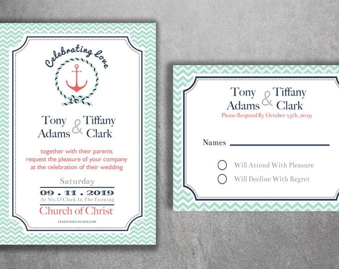 Nautical Wedding Invitations Set Printed - Cheap Wedding Invitations, Navy Wedding Invitation, Affordable, Beach, Cheap, Boat, Light House