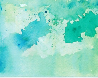 The Colors Of Life Blue and green abstract painting,homemade watercolor painting for sale,Self Expression Watercolor, Orginal Peace Painting