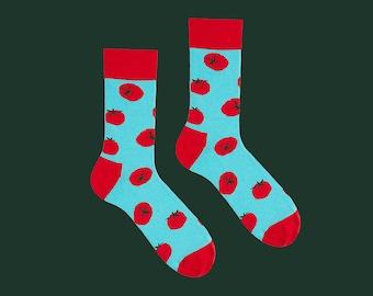 Caprese Socks, Tomato Socks,Tomatoes Socks, Red Socks,Fruit Socks,Fruit Gift, Italian Socks, Socks for Men, Bright Socks,
