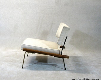 RESERVED: 1950s Mid Century Modern Chair, Upholstery, Wood & Metal