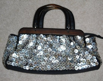 Pearlie Button Handbag..Purse, Covered with Pearl Buttons