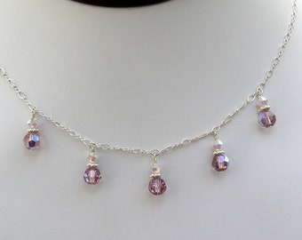 Bridesmaid Necklace, Pink Amethyst, Swarovski Crystal, Sterling Silver, Light Purple Wedding Jewelry Bridesmaids Gift, Spring Fashion