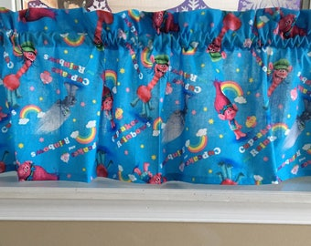 "Trolls Blue Valance Curtain 42"" W x 13"" New Handmade"