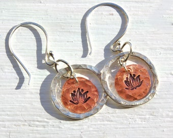 Lotus Flower Earrings, Silver and Copper Circle Dangle Handmade Earrings, Yoga Earrings,  Hand Stamped Silver, Hammered Silver Earrings