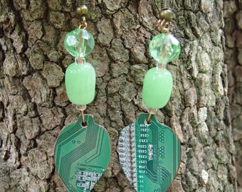 Circuit Board Earrings. Shaped into Leafs for Organic Look. Salvaged from an Old Computer. Vintage Beads. FREE SHIP in U.S.!