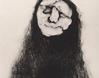 Cloak, original monotype print