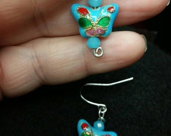 Blue Butterfly Cloisone Bead Earrings with Sky Blue Crystals