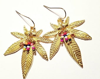 Silver or Gold Cannabis Earrings