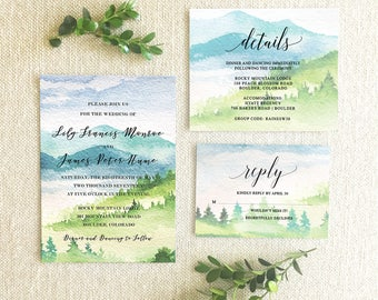 Watercolor Mountain Wedding Invitation Suite,Mountain Wedding Invitation Suite,Mountain Invitation Suite,Wedding in the mountains Invitation