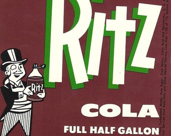 Ritz Cola Vintage Soda Label, 1950's