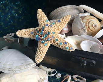 mermaid starfish hair clip - embellished with pale blue crystal, mermaid collection