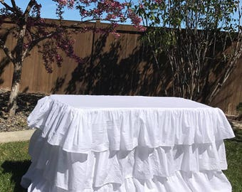Ruffled Tablecloth, 4 Foot Rectangle, Wedding Decor, White Tablecloth,  Cottage Style Party