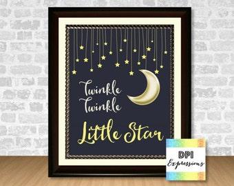 Twinkle Twinkle  Little Star Nursery Art Print, Printable Kids Wall Art, Nursery Wall Decor, Moon And Stars Art Print, INSTANT DOWNLOAD