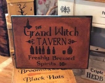 Halloween Advertising Sign Wood Wall Plaque HP OOAK Spells Potions Witch Tavern