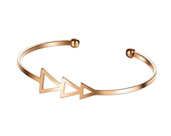 Small Scrach Triangle Open Bracelet Bangle for Women Vintage Female Gold Color Silver Color Cuff Bangle Jewelry Adjustible Bangle Bracelet.