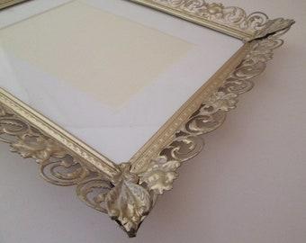 Vintage wedding frame, 8x10 frame, large metal picture frame, 10x12 frame, filigree frame, ornate frame, gold and white frame, frame 8x10