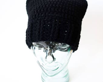 Pussy Hat Project, women's rights, resist, washable acrylic yarn, planned parenthood, donation listing, madonna black cat hat