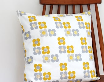 Yellow Cushion Cover in Mod Flowers floral print pillow sham throw