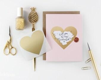 """Scratch-off """"Be My Bridesmaid?"""" Card // Ask Bridesmaids, Maid of Honor Card, Bridesmaid Proposal, Bridesmaid Box // Pink & Gold Heart"""
