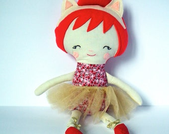 Handmade rag doll. Cat ear headband. Red and gold. Great Christmas Gift idea