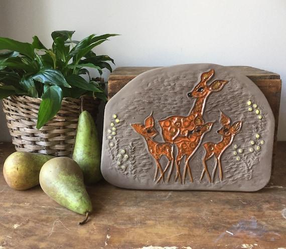 Swedish/ceramic wall tile/plaque/Ester Wallin/Upsala Ekeby/Deer family/midcentury modern/Scandinavian/Sweden