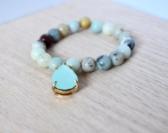 Amazonite Teardrop Beaded Bracelet