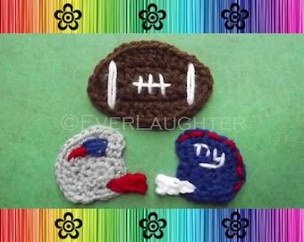 Football and Helmet Applique - CROCHET PATTERN