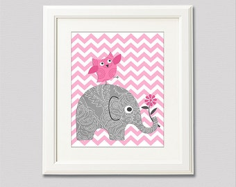 Pink and grey elephant nursery Art Print - 8x10 - Chevron, Children wall art, baby girl wall decor, pink owl - UNFRAMED