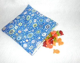 Reusable Snack Bag Blue Dots Fabric