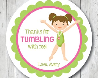 Gymnastics Girl . Personalized Gymnast Birthday Stickers or Tags