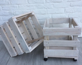 Small wooden rolling crate